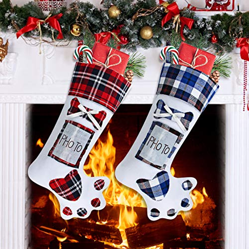 Christmas Stockings, Aitbay 19 Pet Dog Paw Christmas Stocking Plaid Style Large Xmas Stockings Can Be Photo Embedded for Holiday Christmas Decorations ( 2 Pack )