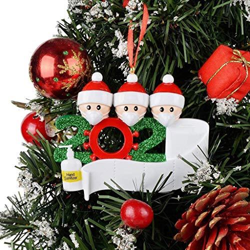 Adorno de familia sobrevivió adornos de árbol de Navidad 2020 decoraciones navideñas, 3 piezas familia de árbol personalizado adorno de Navidad, regalo de Navidad familiar, colgante