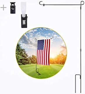 yizen Garden Flag Stand, Yard Flag Holder Black Wrought Iron Flag Pole Holder with Anti-Wind Clip and Spring Stopper
