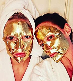 Pack of 10 Gold Face Masks | Anti Aging Wrinkle, Hydrating, Soothing | Peel Off Moisturizing Facial Sheets | Collagen, Hyaluronic Acid, Avena Sativa | By Maison de Kim
