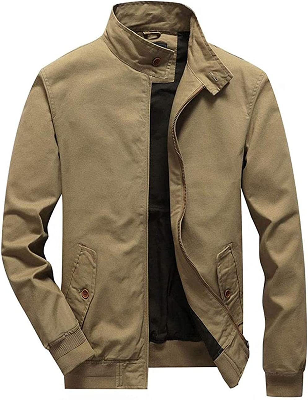 Men's Zip Up Buttoned Collar Cotton Twill Outdoor Workwear Jacket