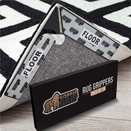 Gorilla Grip Premium Rug Corner and Side Grippers for Hard Floors, Patent Pending, 16 Piece, Anti Curl Reusable Gripper Corners Fit Seamlessly to Rugs...
