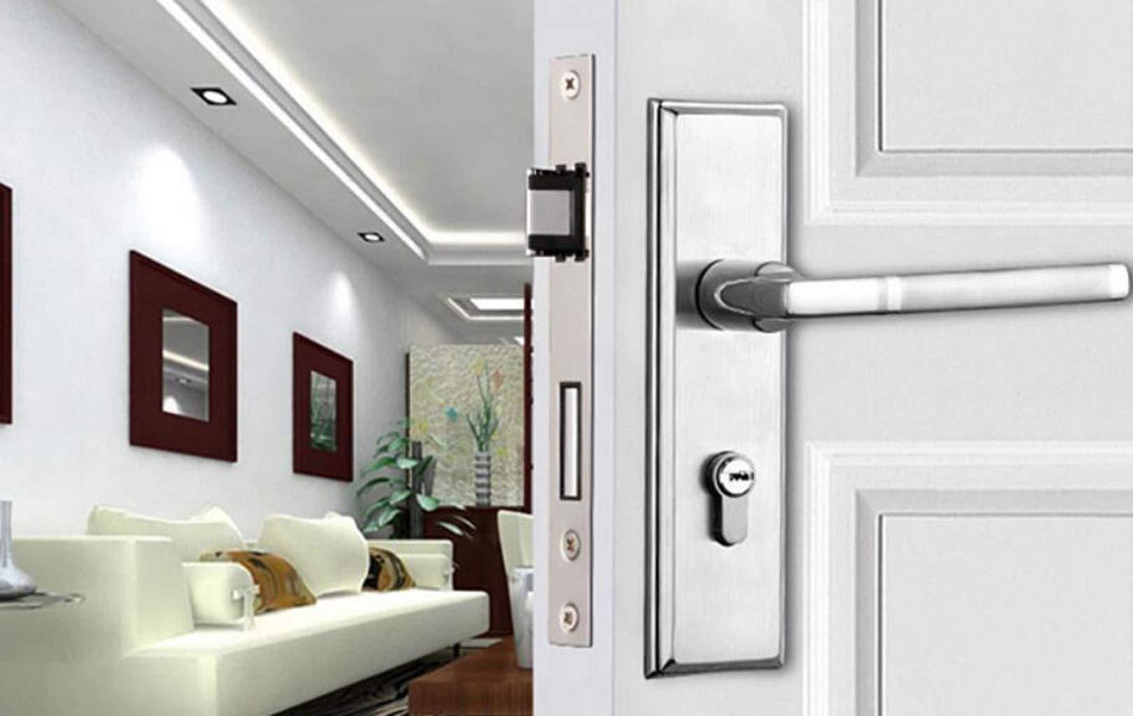 JBHURF Cerradura de Puerta de Dormitorio de Acero Inoxidable Mute Home Manija de Puerta de Madera Maciza Izquierda y Derecha Dirección Bloqueo Universal (Color : La Plata): Amazon.es: Hogar