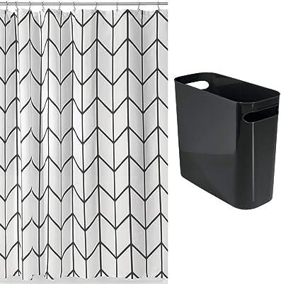 mDesign 2 Piece Decorative Bathroom Decor Set - Fine Weave Polyester Fabric Shower Curtain with Herringbone Print - Wastebasket Trash Can - Black/White