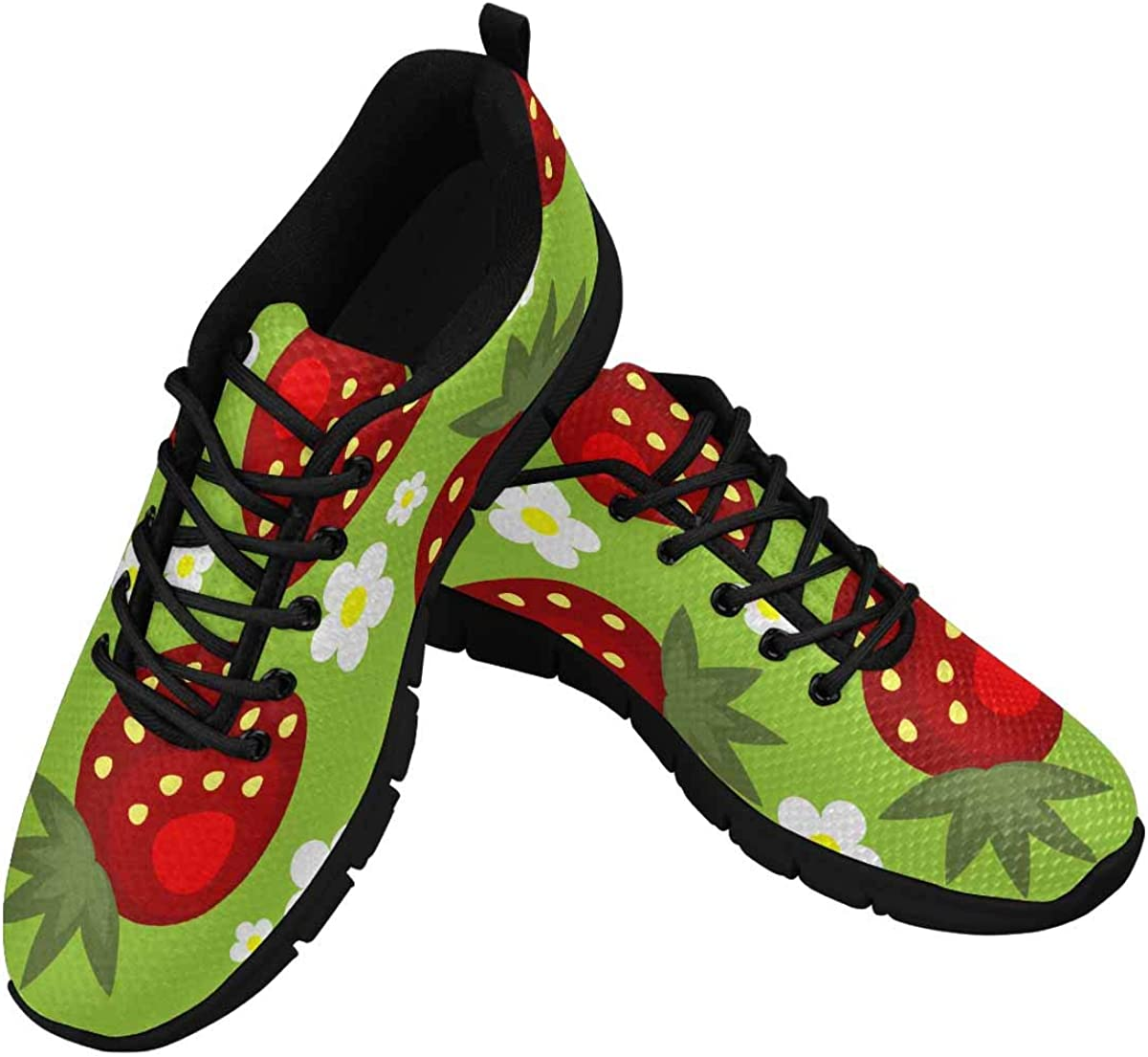 INTERESTPRINT Cute Flower Strawberry Sh Women's Athletic High material Seasonal Wrap Introduction Walking