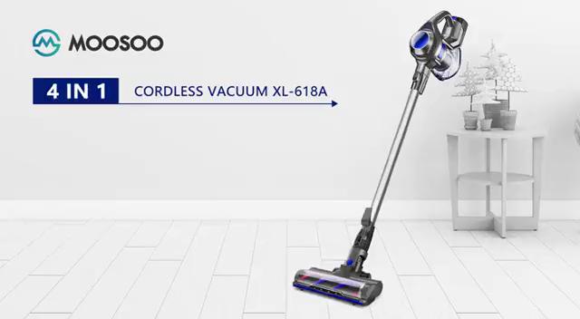 MOOSOO aspiradora Escoba sin Cable, 4 en 1 Aspirador Vertical y de Mano, 1.3L/Cepillo Motorizado Flexible/Potente succión/Batería Extraíble/2 Niveles de Potencia/Soporte de Pared, X6: Amazon.es: Hogar