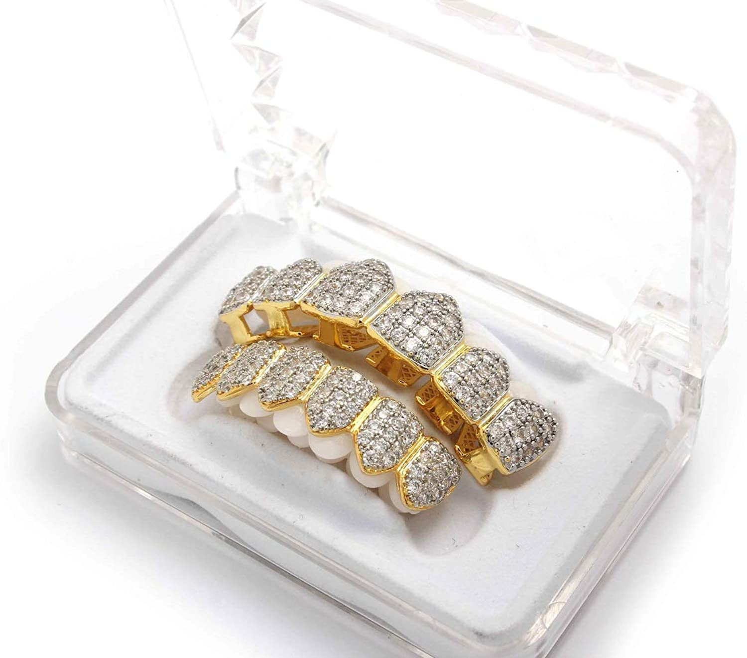 Best Collection Best Grillz Micro Pave Icedout CZ Teeth Grillz for Mouth Top and Bottom…