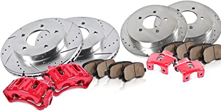 CCK12335 FRONT + REAR Powder Coated Red [4] Calipers + [4] Rotors + Quiet Low Dust [8] Ceramic Pads Performance Kit