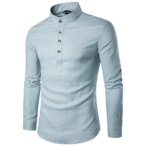 082e19db3 Sue&Joe Men's Henley Shirt Roll Up Solid Long Sleeve Linen Stand Collar  Shirts