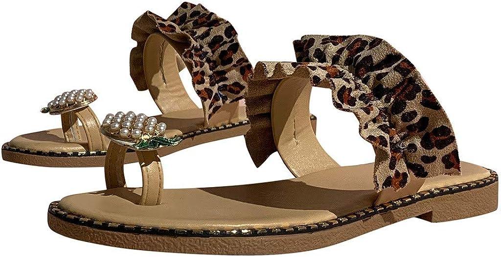 Moxiu Women Summer Beach Sandals Slippers Pearl Decor Flat Bohemian Style Leopard Printed Casual Outdoor Shoes