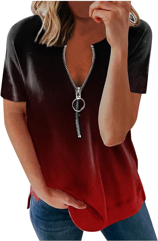 Liu Nian Womens Summer T Shirts Charlotte Mall Gradient Zipp Color Sleeve Short latest