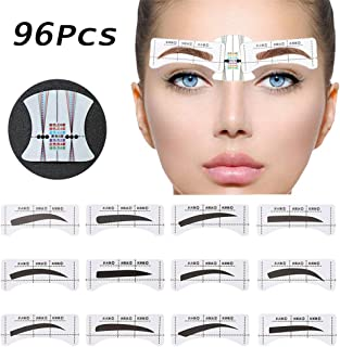 EBANKU 96Pcs Eyebrow Stencil, 48 Pairs Eyebrows Shape Stickers Shaping Template Eyebrows Grooming Stencil Kit with 6 Reusable Connection Card DIY Makeup Guide Template Tools