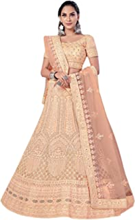Peach Indian New Arrival Net Zari & Zarkan Diamond Wedding Reception Lehenga Chaniya Choli Dupatta 6228