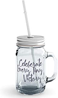 Clear Mason Jar-Celebrate Every Tiny Victory Inspire And Motivate Glass Jar With Straws With Words