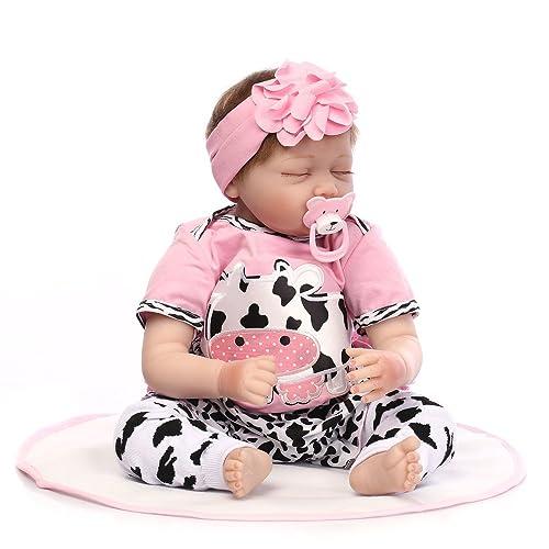 Decdeal - Reborn Muñeca Bebé Niña Está Durmiendo, Ojos Azules, Silicona, 22 Pulgadas 55cm