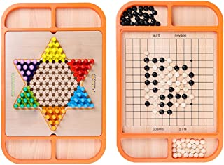 2-in-1 Chinese Checkers & Gobang (Five in a Row) Wooden Board Game with Set of 60 Colorful Chess Pieces,for Adults and Kids