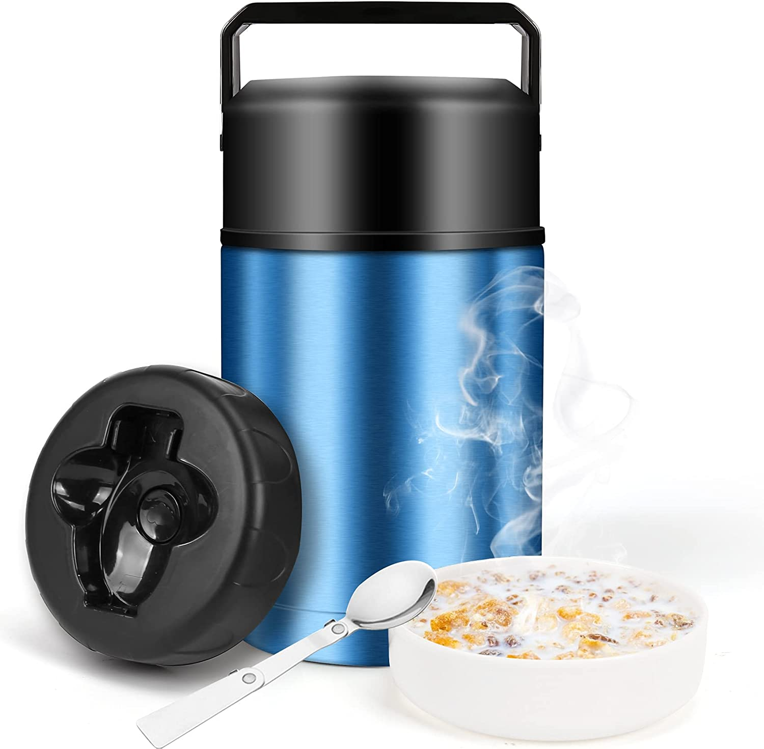 Food Thermos,34oz Insulated Food Jar for Hot Food with Folding Spoon and Handle,Leak Proof Wide Mouth Soup Thermos,Stainless Steel Thermal Lunch Container,Insulated Food Flask for Outdoors (Blue)