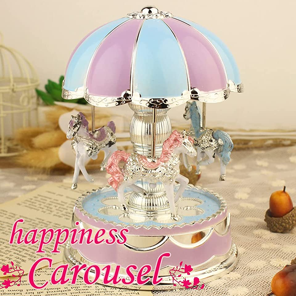 Music Box for Carousel, Merry-Go-Round Music Box Carousel Musical Box with Light Classic Decor for Christmas Wedding Birthday Gift Shop Display Craft Home Decor (Purple, US Direct)