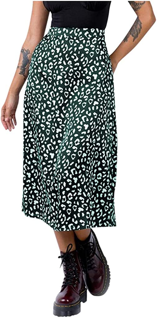 QUNANEN Womens Dresses Fashion Leopard Print Zipper High Waist Casual Satin Mid Calf Skirt Cocktail Dresses