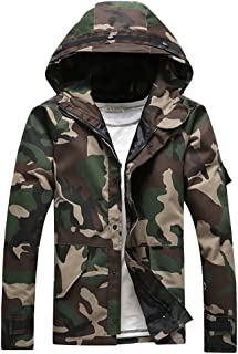 Cloudstyle Mens Lightweight Military Jacket Camouflage Hoodie Outdoor Coat