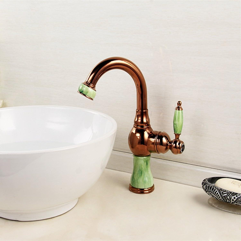 Küche mit herausziehbarer Dual-Spülbrause,Kaltes und Heies Wasser Vorhanden Messing verchromt Robinet de lavabo, mitigeur de cuisine rotatif à un trou en jade naturel entièrement en cuivre