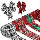 LUTER 4 Rollos 6,4cm x 6m Arpillera de Cinta a Cuadros Navideños, Cinta de Copos de Nieve Navideña Cintas Adornos para Feliz Navidad Bodas Festivales Decoración Del Hogar (Colores Mezclados)