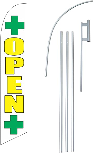 Open Dispensary 12 Foot Super Swooper Feather Flag With Heavy Duty 15 Foot Pole And Ground Spike