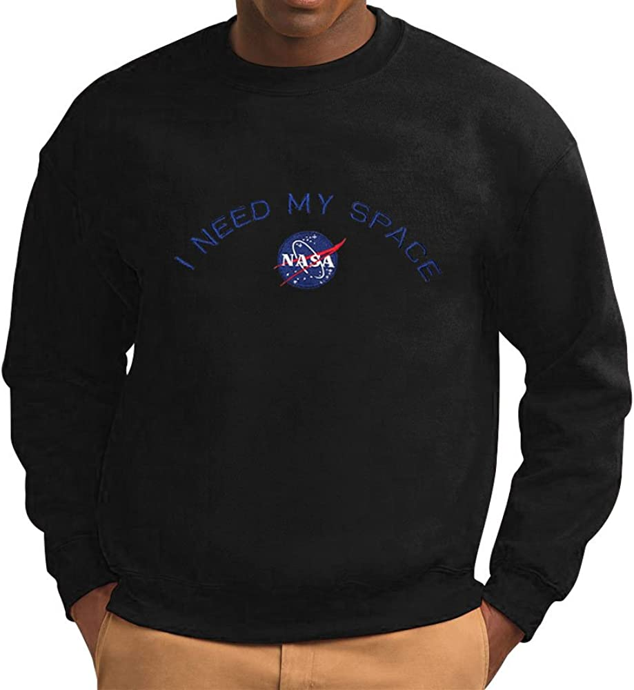Men's NASA I Need My Space Insignia Embroidered Crewneck Sweatshirt