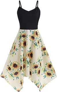 Sexy Dresses for Women,Plus Size Fashion Womens Sunflower Print Asymmetric Camis Handkerchief Dress