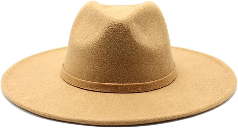 Women Men Big Wide Brim Wool Fedora Hat British Style Winter Gentleman Elegant Lady Jazz Church Hats