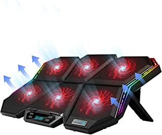 Laptop Cooling Pad for Gaming, 12-Mode RGB LED Screen, 6 High-Speed Adjustable Fans, Touch Control,7 Heights Stand, 15.6-1...