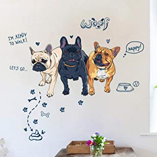 huaxiazu Fun Three Dogs Walk to The Poop Stool Wall Stickers Creative Home Decor Bedroom Living Room DIY Detachable Animal Decals 125 X 115cm