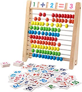 JUEJI 木製パズルろばん+数字カードセット 百玉そろばん 子供 そろばん 数字 おもちゃ 学習玩具 知育玩具 子ども 小学生 足し算 引き算 掛け算 割り算