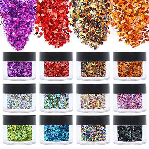 ANDERK Face Glitter Chunky Glitters, 12 Boxes 20ml Diamond Shape Sequins Iridescent Flakes Colorful Mixed Paillette Makeup Face Body Hair Nail Art Decoration
