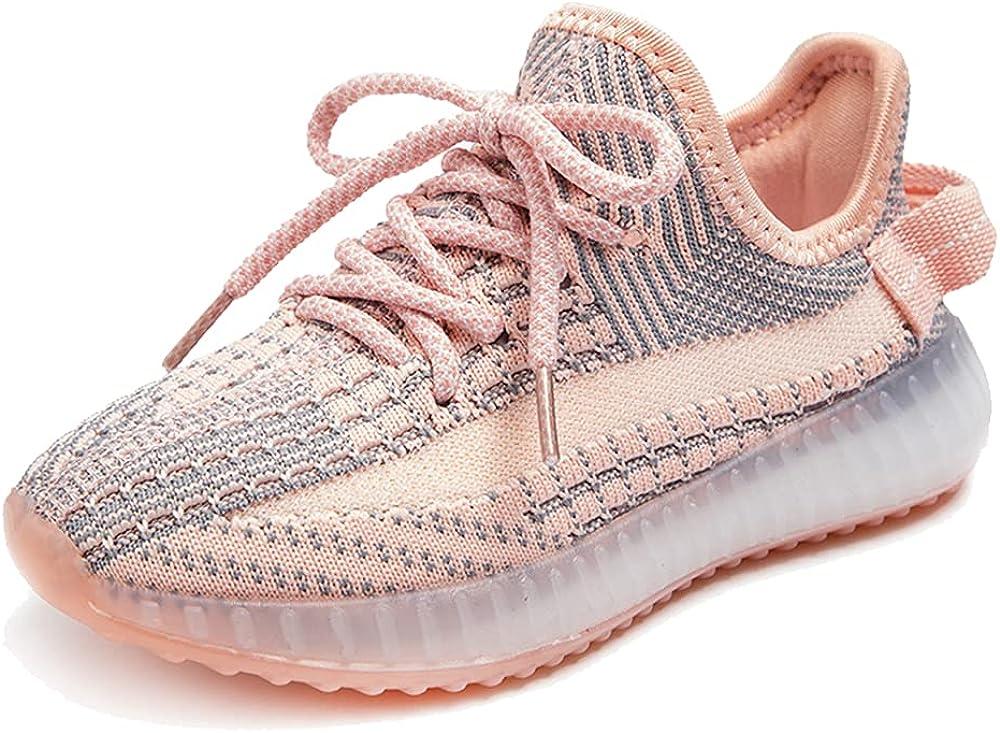 qtGLB Girls Boys Sneakers Kids Knitted Tennis Running Lightweight Athletic Shoe Pink