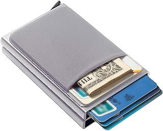 SRZYHH Minimalist Wallet Slim Wallet Credit Card Holder for Men 12 Cards RFID Blocking Anti-theft brush with Money Pocket ...