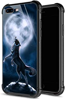 iPhone 8 Case,9H Tempered Glass iPhone 7 Cases Wolf and Moon Pattern for Men Boys,Soft Silicone TPU Bumper Case for iPhone 7/8 inch 4.7 Wolf and Moon