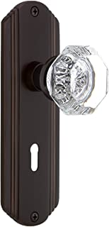 Nostalgic Warehouse Deco Plate with Keyhole Privacy Waldorf Door Knob in Timeless Bronze
