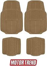 Motor Trend MT-824 Beige Armor-Tech All Weather Liners, 4 Piece Set – Waterproof, Heavy-Duty Front & Rear Rubber Floor Mats for Car, Truck, SUV & Van