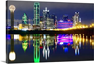 Downtown Dallas Skyline Reflections in The Trinity River Canvas Wall Art Print, 36