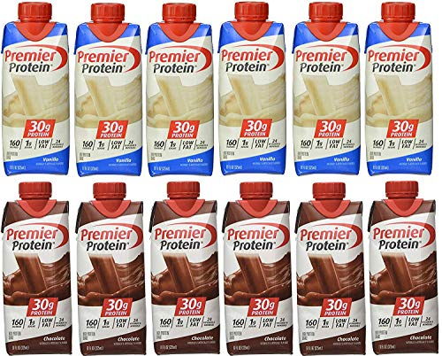 Premier Protein 6 Chocolate and 6 Vanilla Shakes 11oz pack of 12