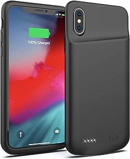 iPhone X/XS/10 4000mAhバッテリーケース、超スリムポータブル充電ケース、iPhone X/XS/10 4000mAh用充電式拡張バッテリーパック、保護バックアップ電源バンクカバー、5.8 インチ (黒)