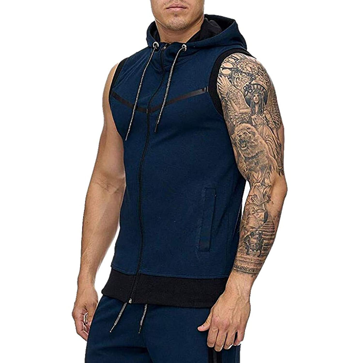 Forthery Men Sauna Sweat Vest Loss Waist Trainer Vest Zipper Workout Tank Top Shapewear