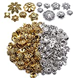 100g (200-350pcs) Mixed Metal Flower Bead Caps Spacer Beads Bali Style Jewelry Findings for DIY Crafting Jewelry Making, Antique Gold and Antique Silver