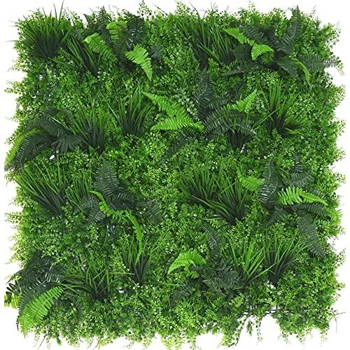 Pared artificial muy realista, 100 x 100 cm, para pared vegetal, panel de pared verde, flor artificial, placa de pared para interior y exterior, decoración de oficina, casa, jardín (Pandora)