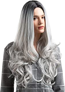 TopWigy Ombre Black Silver Wig Black Roots Grey Long Wavy Wigs for Women Synthetic Hair Replacement Wigs Heat Resistant Fiber Hair