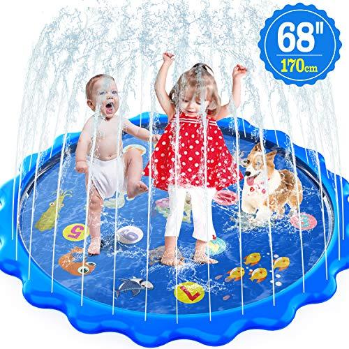 MOZOOSON Wasserspielzeug Garten für Kinder Splash Pad & Spielzeug Sprinkler Play Matte Outdoor Spielzeug Draußen für Kinder ab 2 Jahre, Durchmesser 170cm