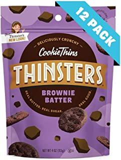 Thinsters Cookies Brownie Batter, Non GMO, Peanut Free, 4 Oz, Pack Of 12