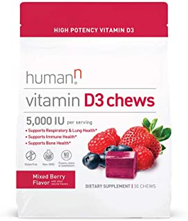 HumanN Vitamin D3 Chews with 5,000 IU of high-Potency Vitamin D3 for Immune Health Support, Mood, Respiratory, and Bone He...