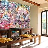 murimage Papel Pintado Muro de Piedra 366 x 254 cm Incluyendo Pegamento Cuarto de los Niños Graffiti Art Grafiti Arte Grunge Arcoiris Colorido Fotomurales